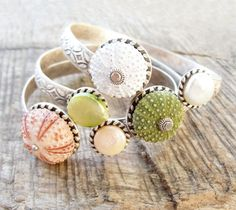 Sea Urchin Collection - Elegant Sea Urchin and Pearl Cuff - Pick Your Color - Pink Green White. $83.00, via Etsy.