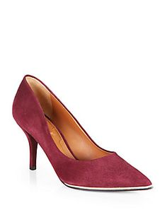 """Givenchy Suede Pumps MUST HAVEEEE 0441968433651 Choose a Size: Color:Plum OR Black Was $595.00 Now $238.00 ADD TO BAG Color/size unavailable? Add to Wait List Details Sophisticated point-toe pump in the finest Italian suede, elegantly crafted with a glossy lacquered stripe. Self-covered heel, 3¼"""" (80mm) Suede upper with lacquered stripe inset Point toe Leather lining and sole Padded insole Made in Italy"""