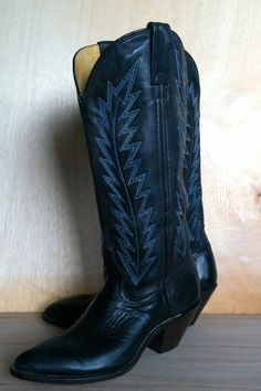 Vintage Double H Tall Black Leather Cowboy/Cowgirl Boots With Blue Stitching by ForestaVintage on Etsy