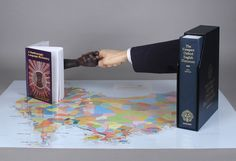 """""""Lost for Words carved salvaged Huon pine, paint, fabric, The"""" 2002-2003 Compact Oxford English Dictionary, A Gumbaynggir Language Dictionary, map of Aboriginal Languages of Australia by Susan Dorothea White"""