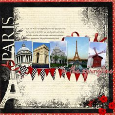 ideas for travel scrapbook ideas paris Travel Scrapbook Pages, Vacation Scrapbook, Scrapbook Page Layouts, Scrapbook Supplies, Scrapbook Cards, Travel Album, Travel Themes, Travel Ideas, Vacation Trips
