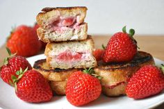 Vegan Strawberry Pecan Stuffed French Toast looks like all of our dessert and breakfast fantasies rolled into one.