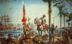 Mural painting of Spanish explorer and conquistador Hernando de Soto at the Manatee National Bank in Bradenton, Florida. Conquistador, Spain History, Art History, Michael Mason, Grace Art, Grey Knights, Aztec Warrior, Today In History, Inca