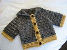 Crochet Baby Boy Sweater Cardigans Ideas For 2019 Crochet Baby Sweaters, Crochet Baby Jacket, Crochet Baby Clothes, Crochet Cardigan, Crochet Baby Cardigan Free Pattern, Cardigan Pattern, Knitted Baby, Knit Jacket, Baby Knitting Patterns