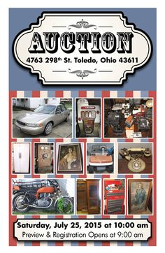 Live On-Site Estate Auction Saturday, July 25, 2015 at 10:00 am Preview & Registration Open at 9:00 am 4763 298th Street, Toledo, Ohio 43611  View More Info Online at www.pamelaroseauction.com or call (419) 865-1224  Pamela Rose Auction Co. LLC ‪#‎PamelaRoseAuction‬