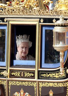 Queen Elizabeth II on her way to the State Opening of Parliament