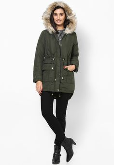 Now, maintain your fashionable status even during chilly days by wearing this green coloured long jacket from Dorothy Perkins. This hooded jacket will keep you warm and comfortable, courtesy its 100% cotton fabric. Wear this jacket over a dress with high boots for a stunning look.