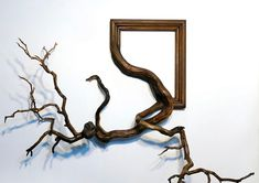 """To create his unique artworks Darryl Cox combines ornate vintage picture frames with real tree branches found in the forests of central Oregon, in the United States.  """"The branches serve as a simple reminder of the materials used to build picture frames, but also create an unusual form factor where clean lines and ornate moulding patterns seem to naturally traverse the bark of each tree limb. Each piece involves many hours of woodworking, sculpting, and painting.""""  More art on the ..."""