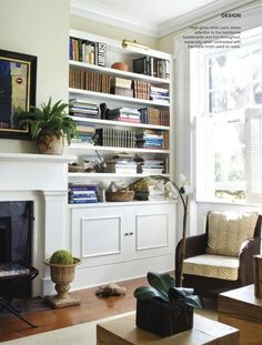 built-in bookcases + fireplace vignette in Dabble Magazine by Lynn Morgan Design