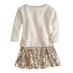 J.Crew girls' sequin-skirt sweatshirt dress in natural.