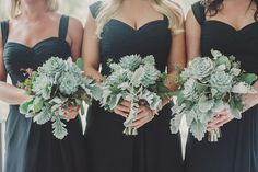 Succulent and greenery bridesmaids bouquets by Simply Roses, photo by Daybreak Studios
