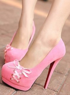 e9c0947c2d16 Pink bow knot high heels ♥ I bet you would love to wear these - Enjoy
