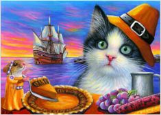 ACEO original cat mouse pilgrim ship Thanksgiving food wildlife painting art by B. Wildlife Paintings, Wildlife Art, Animal Paintings, Funny Paintings, Original Paintings, Cat Clipart, Orange Tabby Cats, Cat Mouse, Halloween Painting