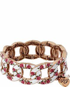 VINTAGE BOW FLOWER BRACELET PINK WHITE accessories jewelry bracelets fashion