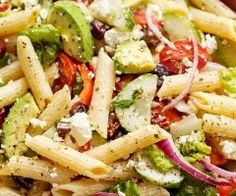 Low Unwanted Fat Cooking For Weightloss Lemon Herb Mediterranean Pasta Salad Is Loaded With So Many Mediterranean Salad Ingredients, And Drizzled An Incredible Lemon Herb Dressing Mediterranean Pasta Salads, Mediterranean Chicken, Mediterranean Diet Recipes, Pasta Recipes, Cooking Recipes, Healthy Recipes, Catering Recipes, Noodle Recipes, Healthy Vegetarian Recipes