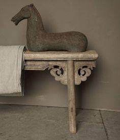Antiek oud houten bankje - HerbersLifestyle