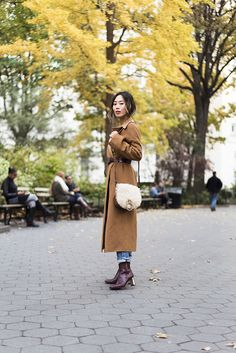 Belted Camel Coat in New York City