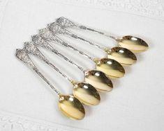 Vintage Teaspoons Baroque Heavy Ornate Demitasse Spoons Gold | Etsy