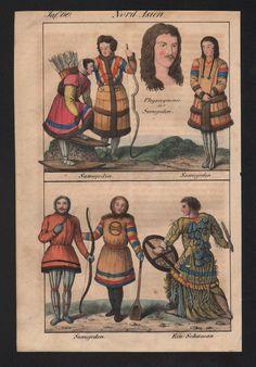 1830 Samoyedic People Ural Russia Siberia Natives Costumes Lithograph