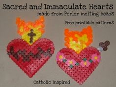 Sacred and Immaculate Heart Perler Melting Bead Pattern   Catholic Inspired ~ Arts, Crafts, and Activities!