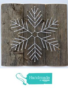 Reclaimed wooden Snowflake string art sign. A unique gift for Weddings, Anniversaries, Birthdays, Christmas, and winter home and cabin decor. A unique and special gift for skiers! from Nail it Art https://www.amazon.com/dp/B018J81QNE/ref=hnd_sw_r_pi_dp_-R0rybE99K5E9 #handmadeatamazon