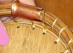 """Pine Needle Gauge: Tool for pine needle basketry to maintain uniform coils"" ~ I just ordered a couple of these for our pine needle basket making endeavors. CAN MAKE FROM COPPER PIPE Making Tools, Making Ideas, Pine Needle Crafts, Pine Needle Baskets, Basket Crafts, Pine Needles, Weaving Art, Gourd Art, Nature Crafts"