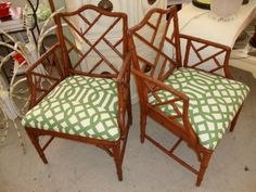 Gentil Chippendale Arm Chairs With KWID Fabric