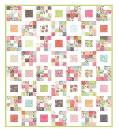 Perfect for the Jelly roll left-overs I have.   I'm trying to destash Flashback Friday: Four Squared Quilt « Moda Bake Shop