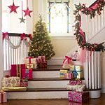 *Keeping the Christmas Spirit Alive, Christmas Stairs! Love, love, love the stair decor! Merry Little Christmas, Christmas Love, All Things Christmas, Winter Christmas, Christmas Crafts, Christmas Morning, Beach Christmas, Christmas Birthday, Christmas Pictures