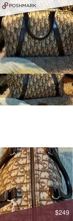 Christian Dior Made with canvas material and leather in great condition it's not perfect but it is in good used condition and please make sure to look at all the pictures and if you have any questions I want you to make sure and ask and I will be more than happy to give you the answers if I can thank you #146 authentic Christian Dior Bags Shoulder Bags