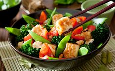 Asian cuisines offer a wide variety of choices for the hungry vegan! Most Chinese restaurants will let you substitute tofu in any of their entrées to create a vegan dish, and many feature a large selection of mock meats.
