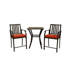 Garden Treasures 3-Piece Black Aluminum Cushioned Chair Patio Balcony Height Set Bistro Table