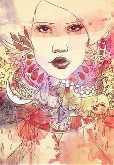 Art Nouveau by Evyallen. I really love painting and drawing like this. Multi media. Fun.