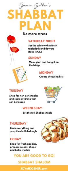 Get Jamie Geller's Shabbos Plan and include a little bit of planning every day of the week. We love Shabbos!!!
