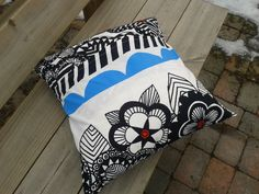 Modern pillow cover made from Marimekko fabric by NordicCrafter