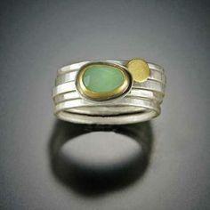 Chrysoprase Stacking Ring Set   Ananda Khalsa Jewelry