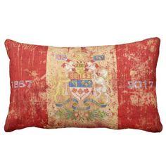 Shop Canada Anniversary Confederation Lumbar Pillow created by LeonOziel. Decorative Pillows, Decor Pillows, Throw Pillows, Canadian Coat Of Arms, Canada Birthday, Repeating Patterns, Lumbar Pillow, Birthday Celebration, Party Supplies