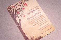 Real Wood Wedding Invitations  Fall Curly Tree by woodchickstudios, $10.00