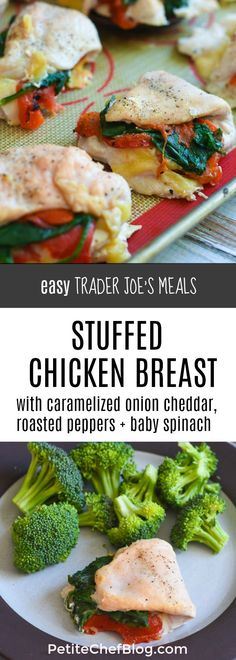 Easy Trader Joe's Meals: Stuffed Chicken Breast filled with onion cheddar spinach roasted red peppers Low Carb Dinner Recipes, Cooking Recipes, Healthy Recipes, Detox Recipes, Yummy Recipes, Yummy Food, Trader Joe's, Healthy Chicken, Chicken Recipes