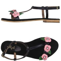 Gei Gei Thong Sandal ($72) ❤ liked on Polyvore featuring shoes, sandals, black, black thong sandals, ankle strap flat sandals, ankle tie sandals, buckle sandals and flower sandals