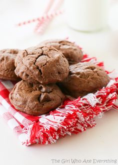 "Brownie Batter Cookies. All the flavor of a brownie in a cookie! I think they call these ""brookies."""