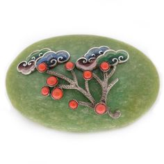 Rare Czech Vintage Oriental Chinese Neiger Brothers Art Deco Green Galalith Coral Tree Pin Brooch   Clarice Jewellery   Vintage Costume Jewellery
