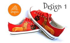 Hand painted long/ wire haired Dachshund sneakers  In notes to seller please advise which design you prefer and the name if you would like it painted on the shoe.  Smooth/ short haired Dachchund sneakers are available here: www.etsy.com/listing/263738919/smooth-short-haired-dachshund-sneakers  Have the name of your dog painted on the shoe and a few rhinestones (just 2 or 3 each side) to add a bit of extra sparkle (included in the price!)...add your requirements in Not...