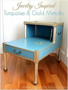 """Jewelry Inspired"" Turquoise & Gold Metallic Makeover"
