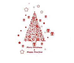 E.S Christmas Tree Vinyl Decal for Merry Christmas Removable Art Wall Sticker Home Décor - Brought to you by Avarsha.com