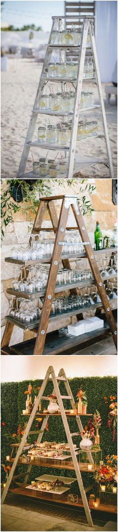 wedding food and drink display ideas with ladders