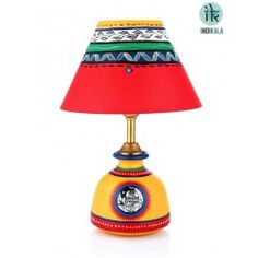 Terracotta Yellow Lamp with Red Shade