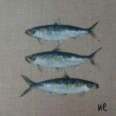 * Trois sardines* sur toile de lin             20 x 20 cm http://www.alittlemarket.com/boutique/nathalie_lemoine-1265875.html