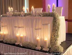 dekoracja ślubna z gipsówki Szczecin stół Pary Młodej