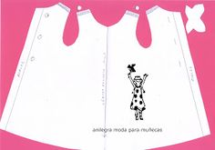 Ideas que mejoran tu vida Could be adjusted to fit any doll. Could be good for the awkward little dolls my granddaughter keeps coming up with. Barbie Sewing Patterns, Baby Dress Patterns, Kids Patterns, Doll Clothes Patterns, Doll Patterns, Doll Crafts, Sewing Crafts, Vestidos Nancy, Nancy Doll